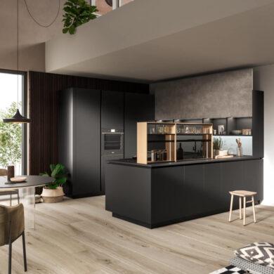 Link cucina con piano fenix